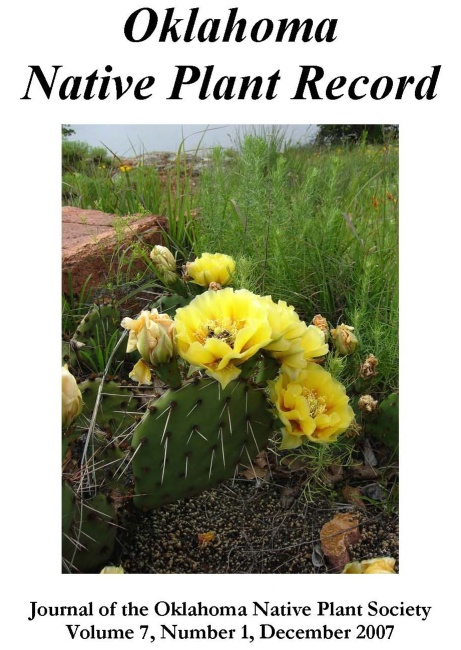 """Cover photo: Courtesy of Patricia Folley. """"This Opuntia polyacantha was blooming away on a rocky shore on Jed Johnson Lake in the Wichita Mountains Wildlife Refuge. The photo was taken with a Nikon Coolpix camera"""
